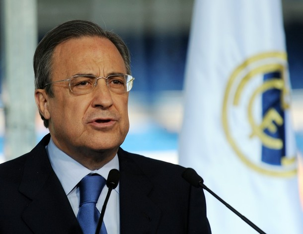 Newly appointed Spanish president of Real Madrid Florentino Perez (L) speaks during a press conference after he was sworn in as president of Real Madrid at Santiago Bernabeu stadium in Madrid  on June 1, 2009.  AFP PHOTO/JAVIER SORIANO. (Photo credit should read JAVIER SORIANO/AFP/Getty Images)